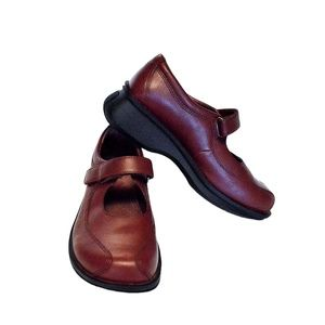 Simple 8.5 39.5 Mary Jane Loafer Shoes Burgundy